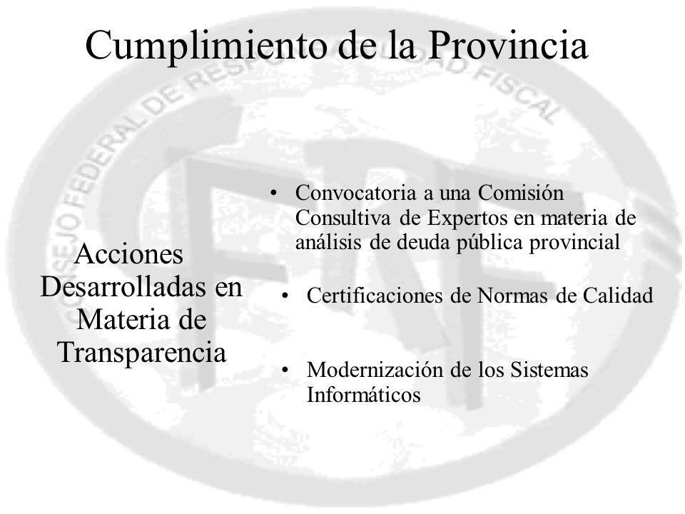 Cumplimiento de la Provincia Acciones Desarrolladas en Materia de Transparencia Certificaciones de Normas de Calidad Convocatoria a una Comisión Consu