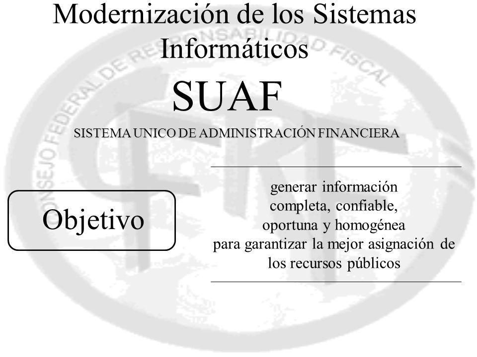 generar información completa, confiable, oportuna y homogénea para garantizar la mejor asignación de los recursos públicos Objetivo SUAF SISTEMA UNICO