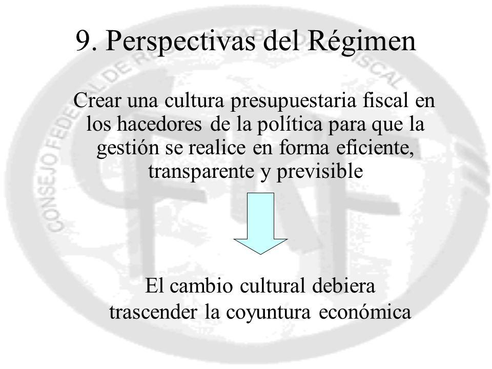 9. Perspectivas del Régimen Crear una cultura presupuestaria fiscal en los hacedores de la política para que la gestión se realice en forma eficiente,