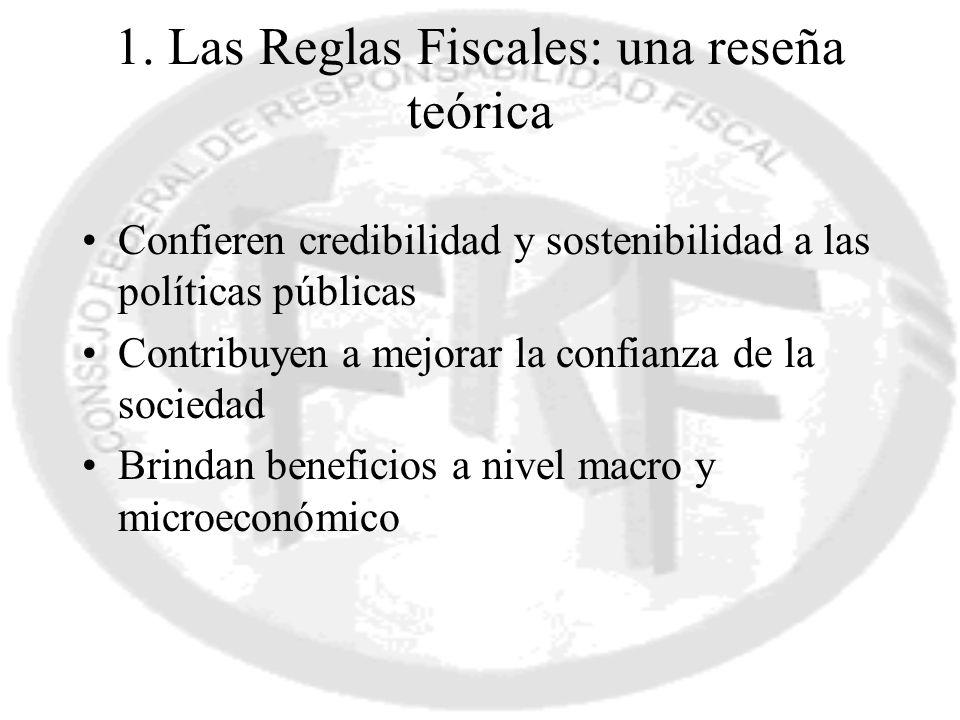 1. Las Reglas Fiscales: una reseña teórica Confieren credibilidad y sostenibilidad a las políticas públicas Contribuyen a mejorar la confianza de la s