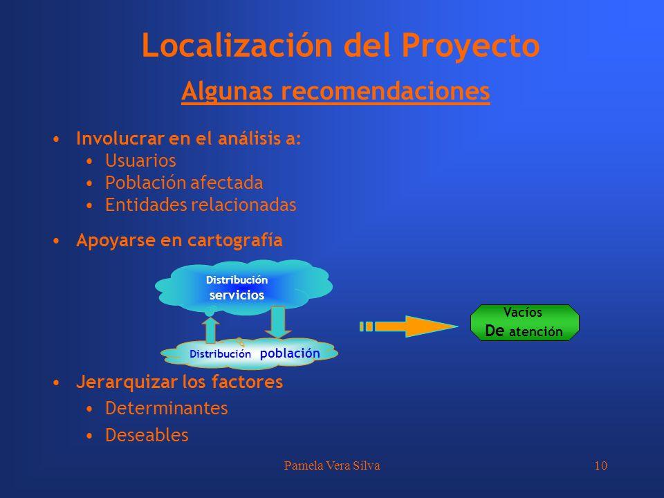 Pamela Vera Silva10 Localización del Proyecto Algunas recomendaciones Involucrar en el análisis a: Usuarios Población afectada Entidades relacionadas