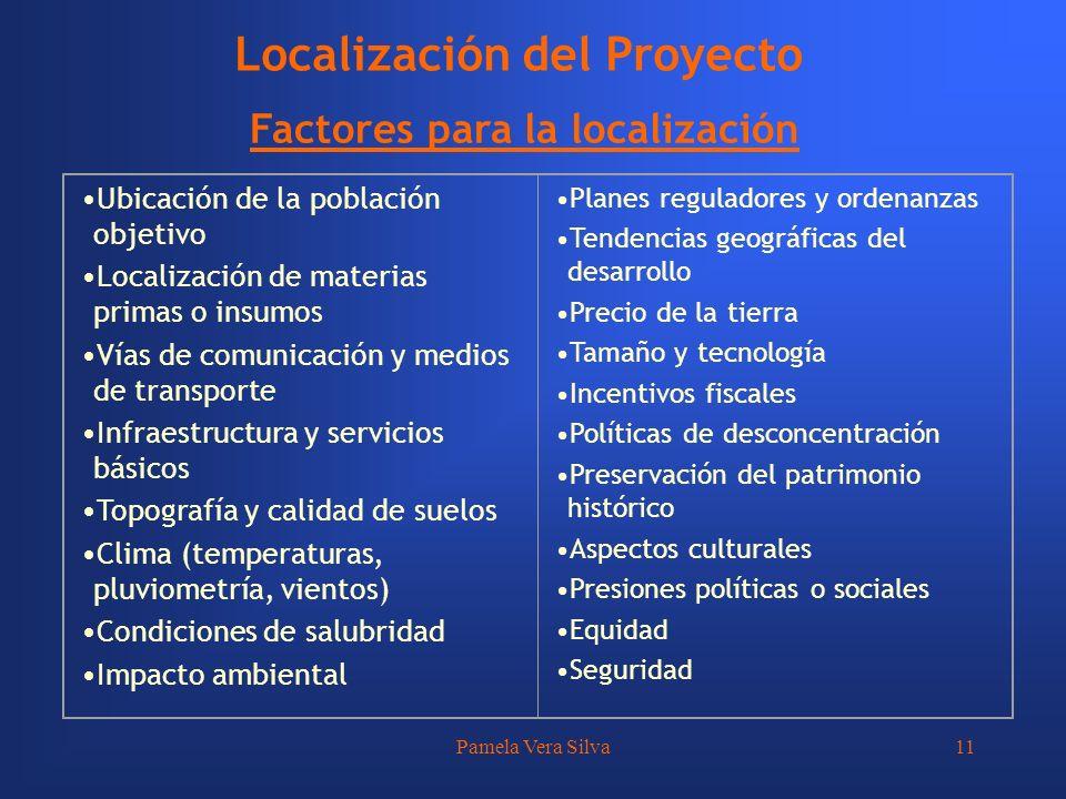 Pamela Vera Silva11 Localización del Proyecto Factores para la localización Ubicación de la población objetivo Localización de materias primas o insum