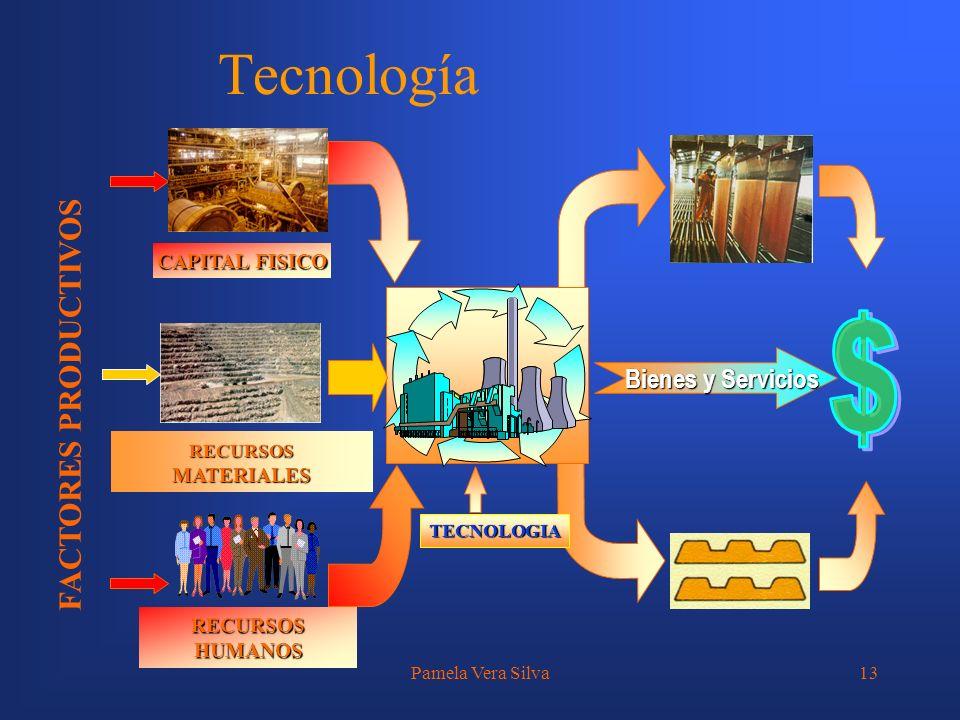 Pamela Vera Silva13 Bienes y Servicios Bienes y Servicios CAPITAL FISICO RECURSOS HUMANOS TECNOLOGIA RECURSOS MATERIALES FACTORES PRODUCTIVOS Tecnolog