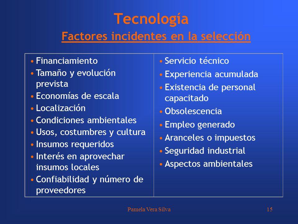 Pamela Vera Silva15 Tecnología Financiamiento Tamaño y evolución prevista Economías de escala Localización Condiciones ambientales Usos, costumbres y