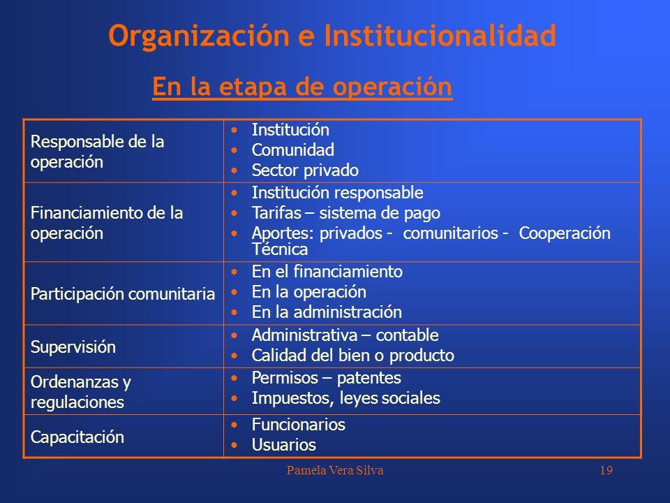 Pamela Vera Silva19 Organización e Institucionalidad En la etapa de operación Responsable de la operación Institución Comunidad Sector privado Financi