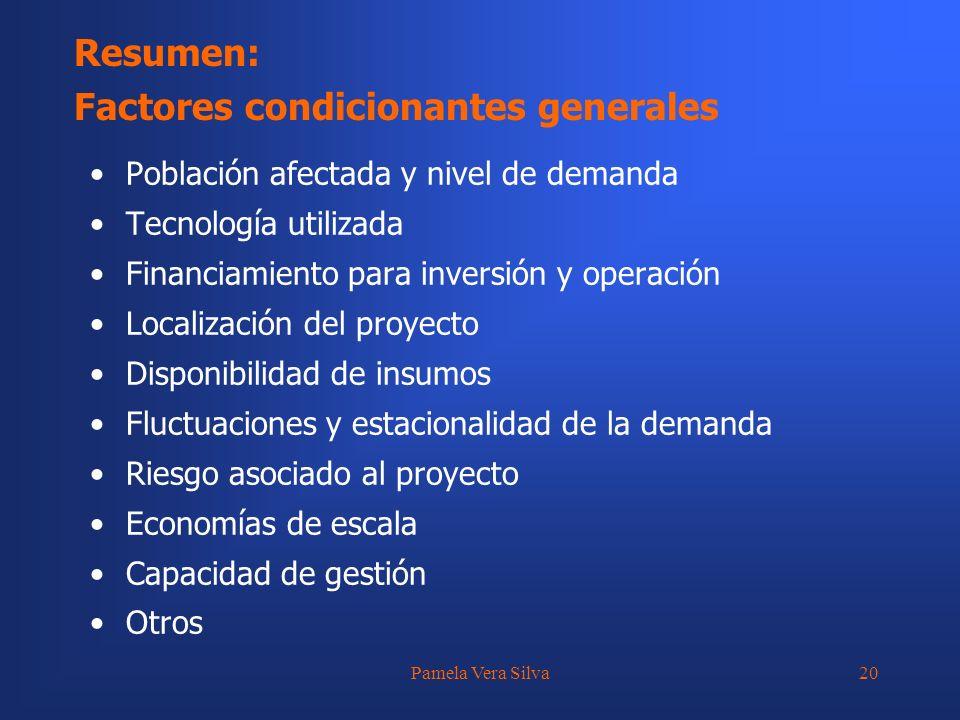 Pamela Vera Silva20 Resumen: Factores condicionantes generales Población afectada y nivel de demanda Tecnología utilizada Financiamiento para inversió