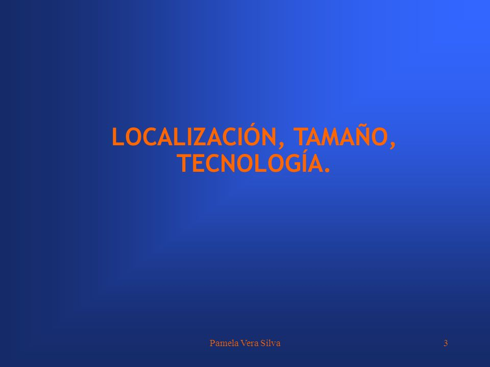 Pamela Vera Silva3 LOCALIZACIÓN, TAMAÑO, TECNOLOGÍA.