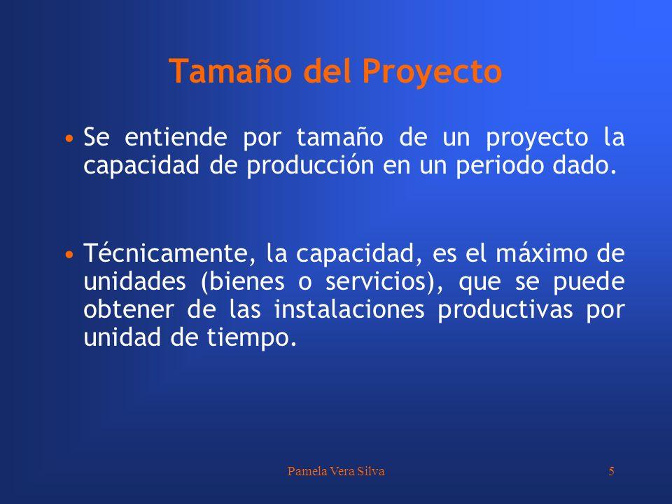 Pamela Vera Silva5 Se entiende por tamaño de un proyecto la capacidad de producción en un periodo dado. Técnicamente, la capacidad, es el máximo de un