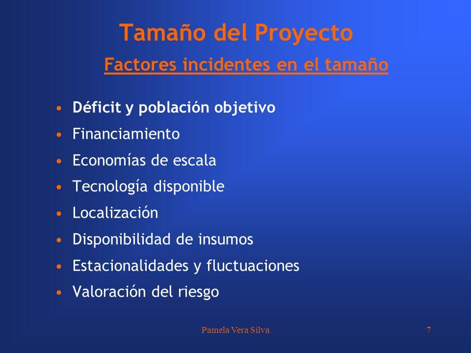 Pamela Vera Silva7 Tamaño del Proyecto Factores incidentes en el tamaño Déficit y población objetivo Financiamiento Economías de escala Tecnología dis