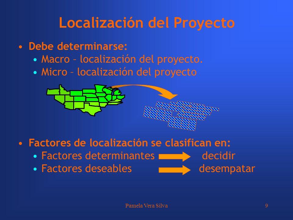 Pamela Vera Silva9 Localización del Proyecto Debe determinarse: Macro – localización del proyecto. Micro – localización del proyecto Factores de local