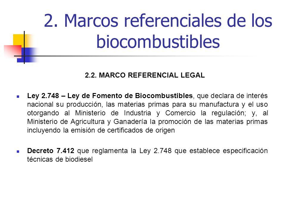 2.2. MARCO REFERENCIAL LEGAL Ley 2.748 – Ley de Fomento de Biocombustibles, que declara de interés nacional su producción, las materias primas para su