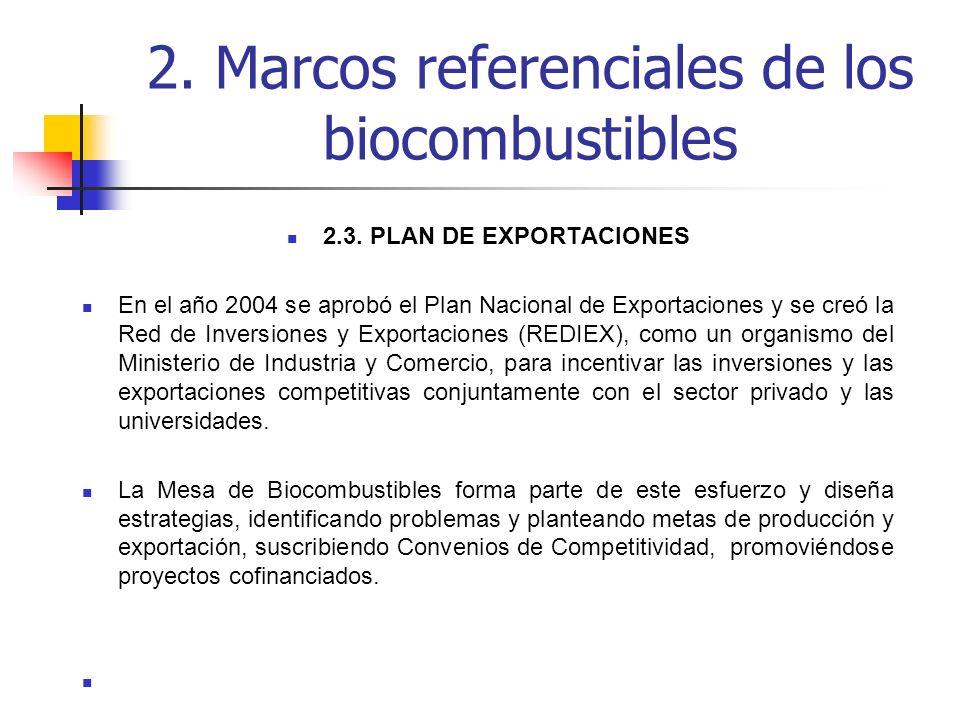 2.3. PLAN DE EXPORTACIONES En el año 2004 se aprobó el Plan Nacional de Exportaciones y se creó la Red de Inversiones y Exportaciones (REDIEX), como u