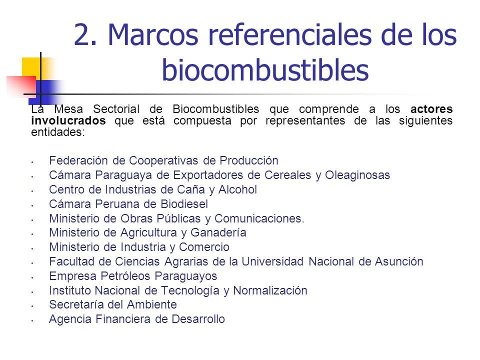 2. Marcos referenciales de los biocombustibles La Mesa Sectorial de Biocombustibles que comprende a los actores involucrados que está compuesta por re