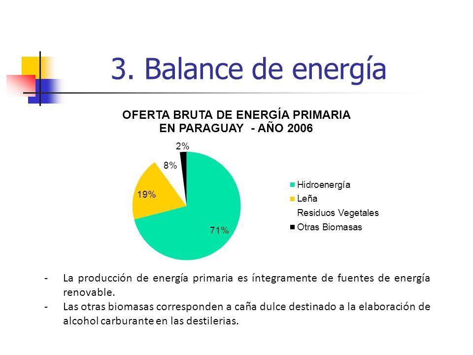 -La producción de energía primaria es íntegramente de fuentes de energía renovable. -Las otras biomasas corresponden a caña dulce destinado a la elabo