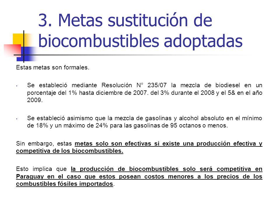Estas metas son formales. Se estableció mediante Resolución N° 235/07 la mezcla de biodiesel en un porcentaje del 1% hasta diciembre de 2007. del 3% d