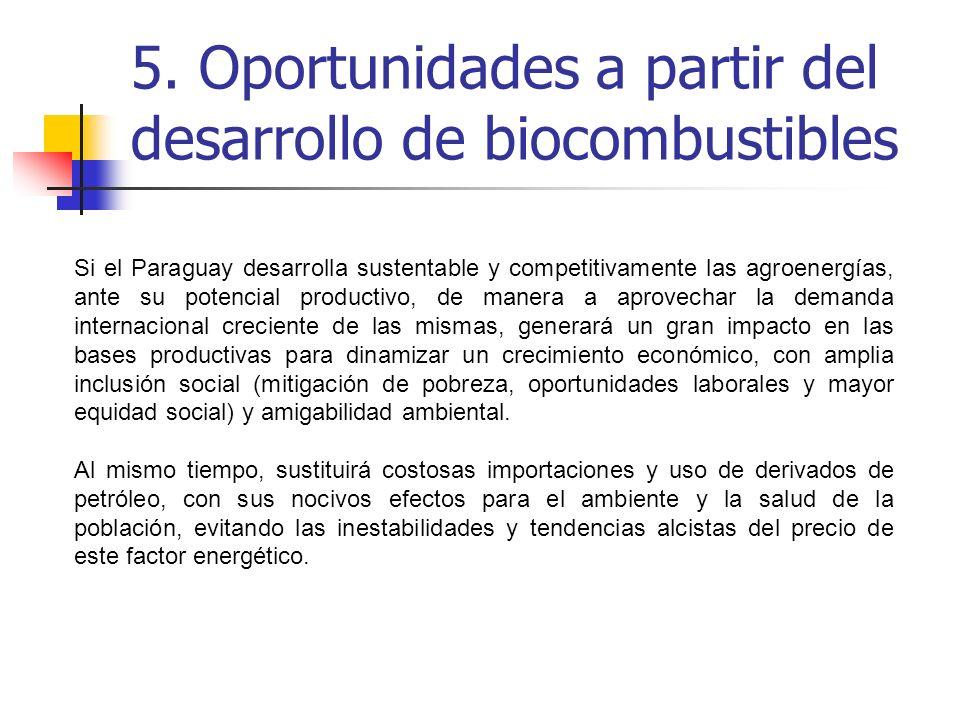 5. Oportunidades a partir del desarrollo de biocombustibles Si el Paraguay desarrolla sustentable y competitivamente las agroenergías, ante su potenci