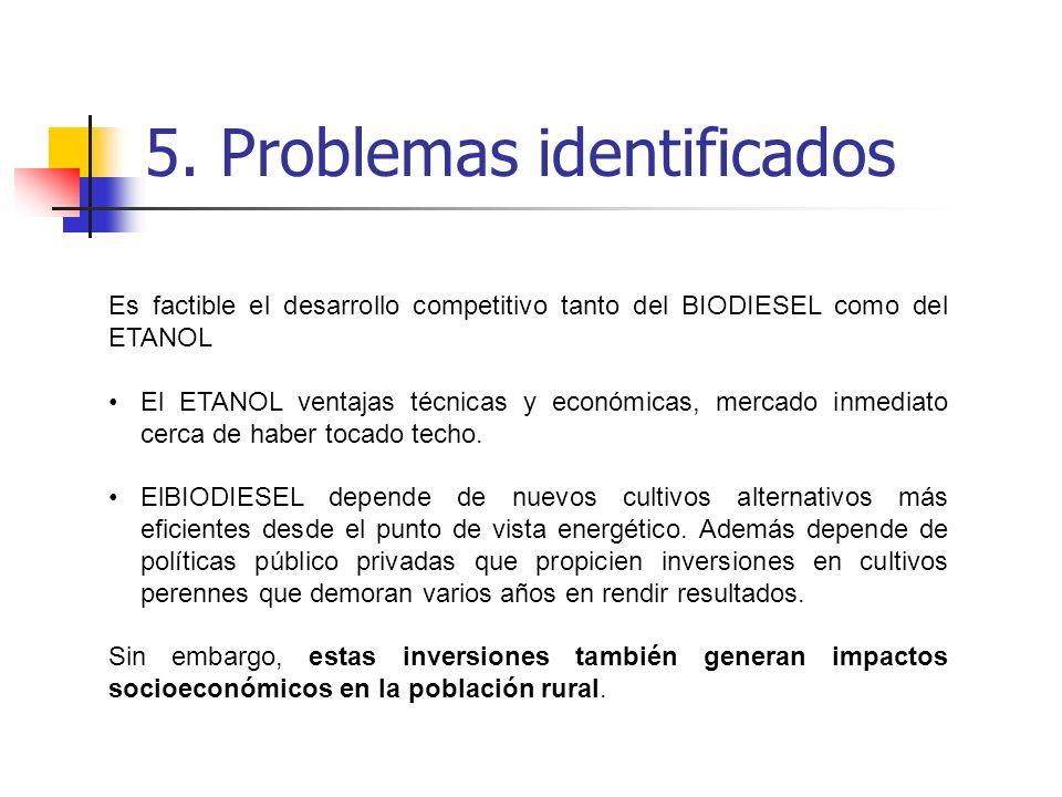 5. Problemas identificados Es factible el desarrollo competitivo tanto del BIODIESEL como del ETANOL El ETANOL ventajas técnicas y económicas, mercado