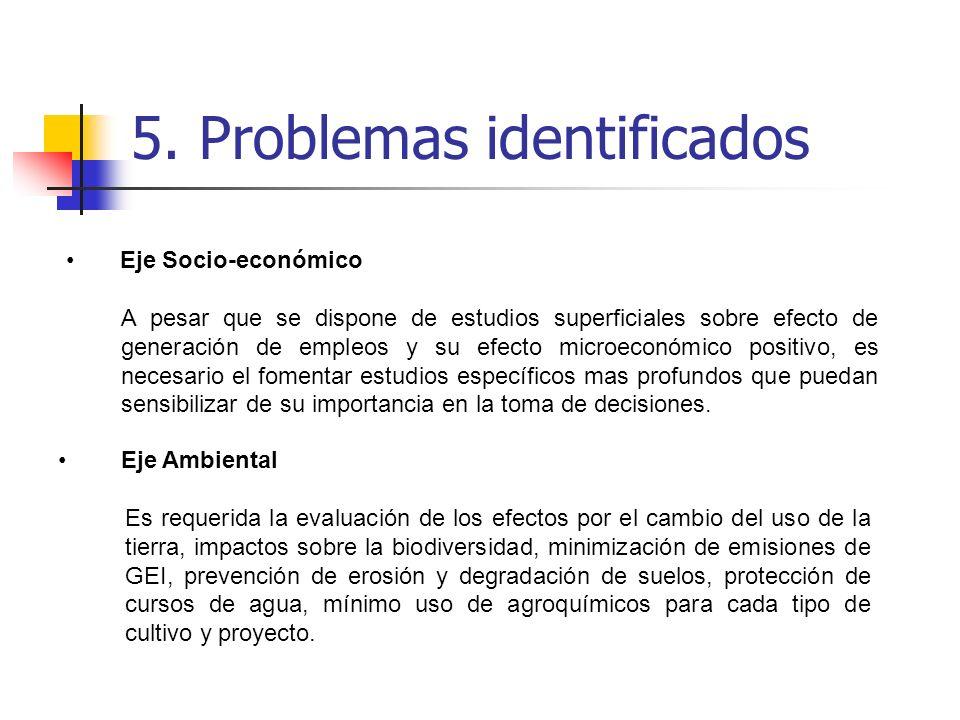 5. Problemas identificados Eje Socio-económico A pesar que se dispone de estudios superficiales sobre efecto de generación de empleos y su efecto micr