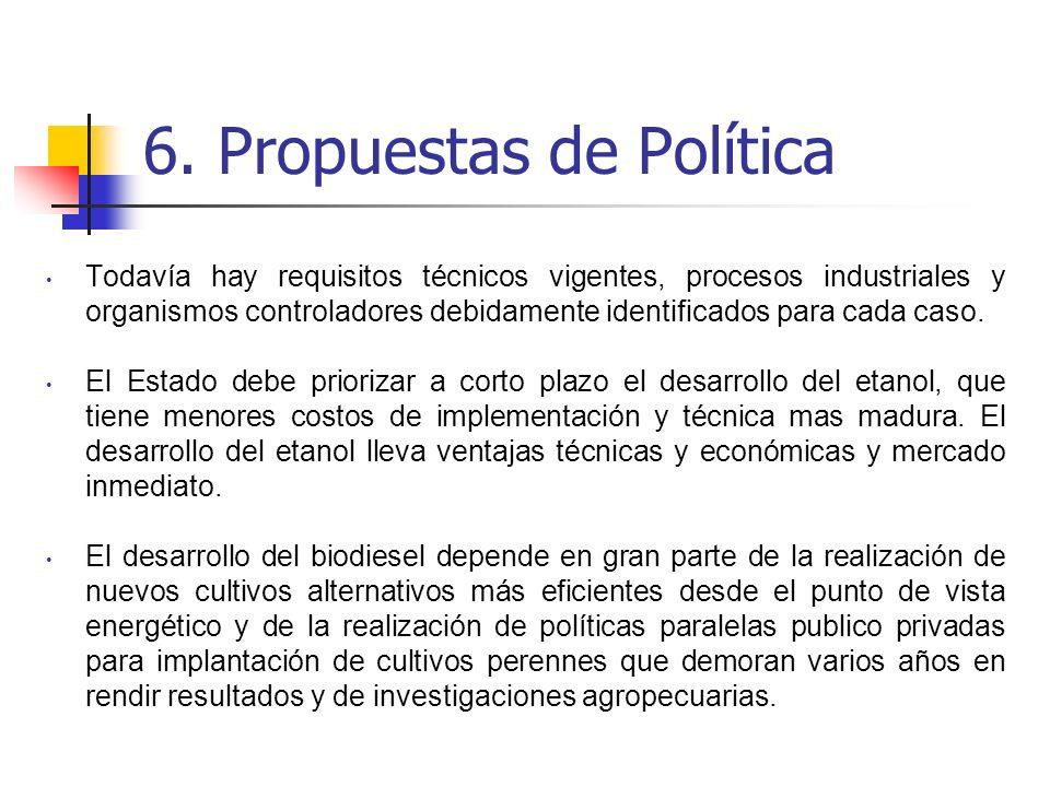 6. Propuestas de Política Todavía hay requisitos técnicos vigentes, procesos industriales y organismos controladores debidamente identificados para ca