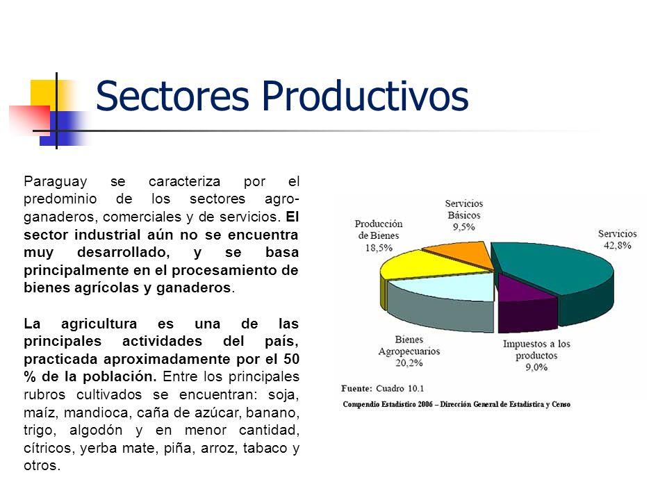 Sectores Productivos Paraguay se caracteriza por el predominio de los sectores agro- ganaderos, comerciales y de servicios. El sector industrial aún n