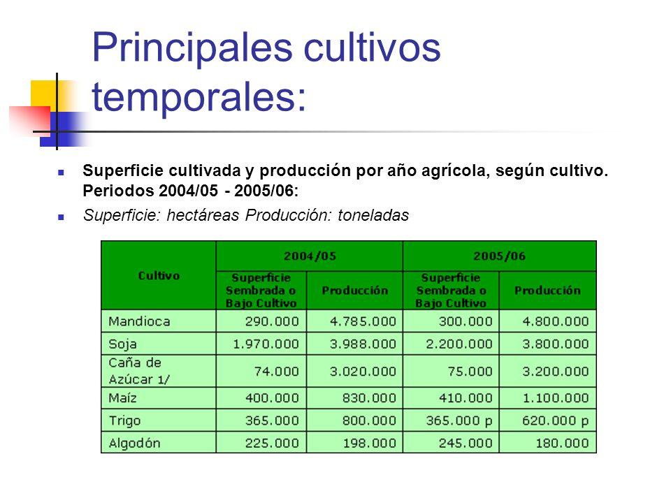 Principales cultivos temporales: Superficie cultivada y producción por año agrícola, según cultivo. Periodos 2004/05 - 2005/06: Superficie: hectáreas