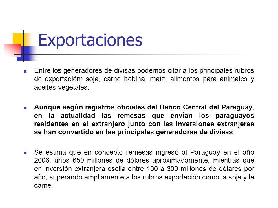 Exportaciones Entre los generadores de divisas podemos citar a los principales rubros de exportación: soja, carne bobina, maíz, alimentos para animale