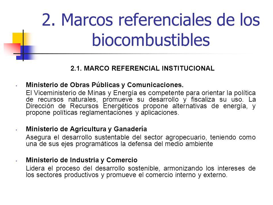 2. Marcos referenciales de los biocombustibles 2.1. MARCO REFERENCIAL INSTITUCIONAL Ministerio de Obras Públicas y Comunicaciones. El Viceministerio d