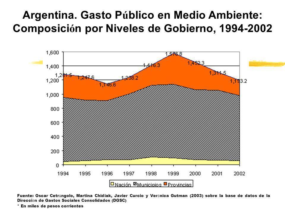 Fuente: Oscar Cetr á ngolo, Martina Chidiak, Javier Curcio y Ver ó nica Gutman (2003) sobre la base de datos de la Direcci ó n de Gastos Sociales Cons