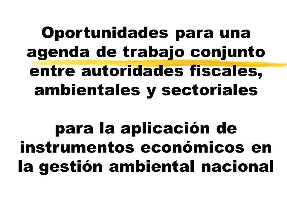 Oportunidades para una agenda de trabajo conjunto entre autoridades fiscales, ambientales y sectoriales para la aplicación de instrumentos económicos