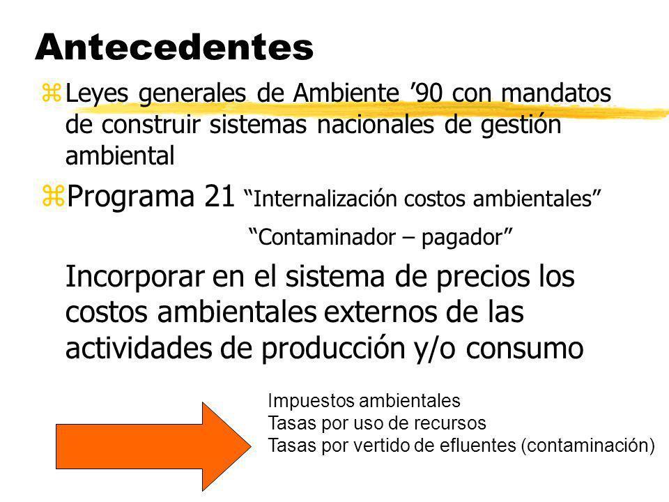 Antecedentes zLeyes generales de Ambiente 90 con mandatos de construir sistemas nacionales de gestión ambiental zPrograma 21 Internalización costos am