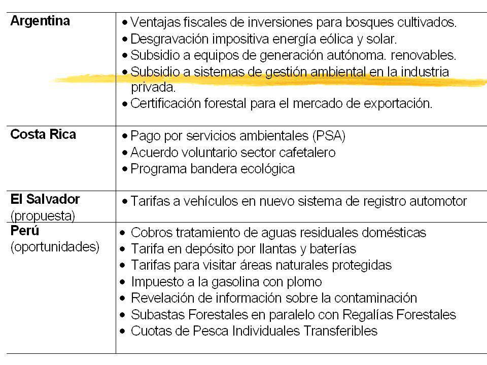 Observaciones casos nacionales zAusencia general de instrumentos fiscales centrali- zados, específicamente diseñados p/ cumplir c/ objetivos de la gestión ambiental.