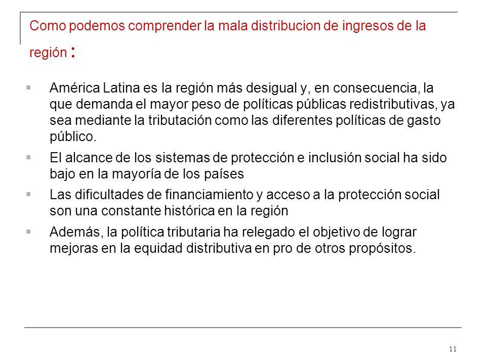 11 Como podemos comprender la mala distribucion de ingresos de la región : América Latina es la región más desigual y, en consecuencia, la que demanda el mayor peso de políticas públicas redistributivas, ya sea mediante la tributación como las diferentes políticas de gasto público.