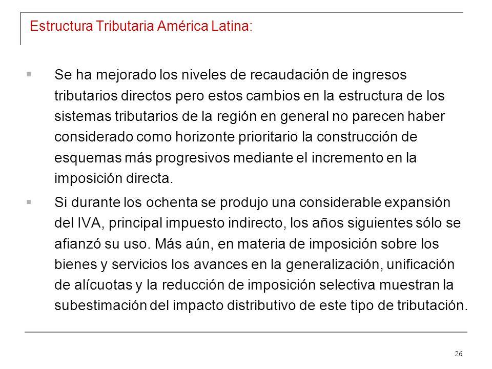 26 Estructura Tributaria América Latina: Se ha mejorado los niveles de recaudación de ingresos tributarios directos pero estos cambios en la estructura de los sistemas tributarios de la región en general no parecen haber considerado como horizonte prioritario la construcción de esquemas más progresivos mediante el incremento en la imposición directa.