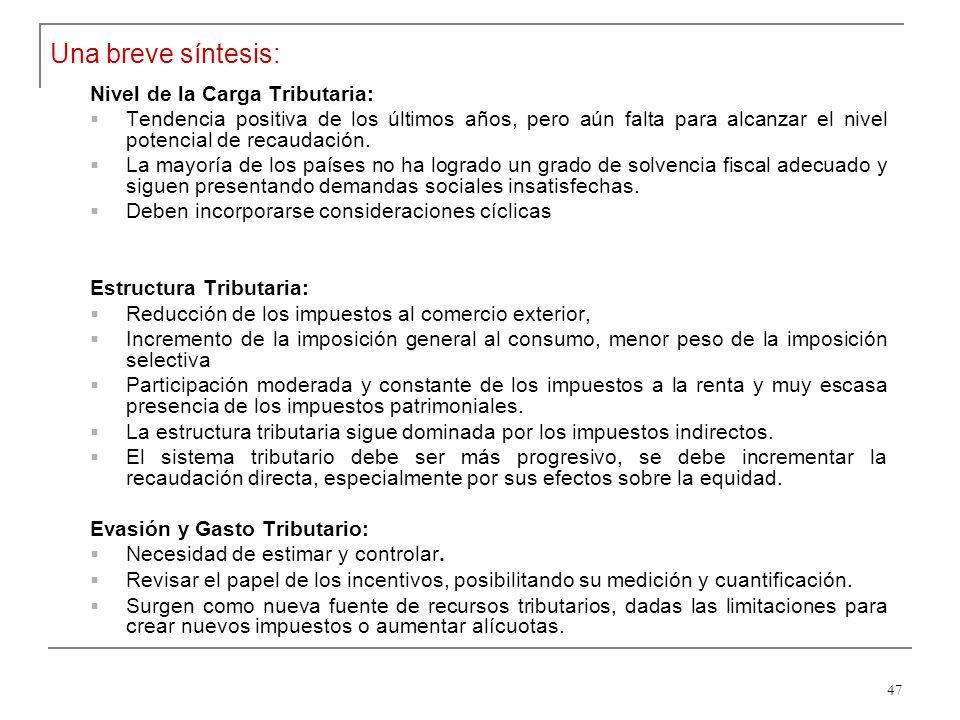 47 Una breve síntesis: Nivel de la Carga Tributaria: Tendencia positiva de los últimos años, pero aún falta para alcanzar el nivel potencial de recaudación.