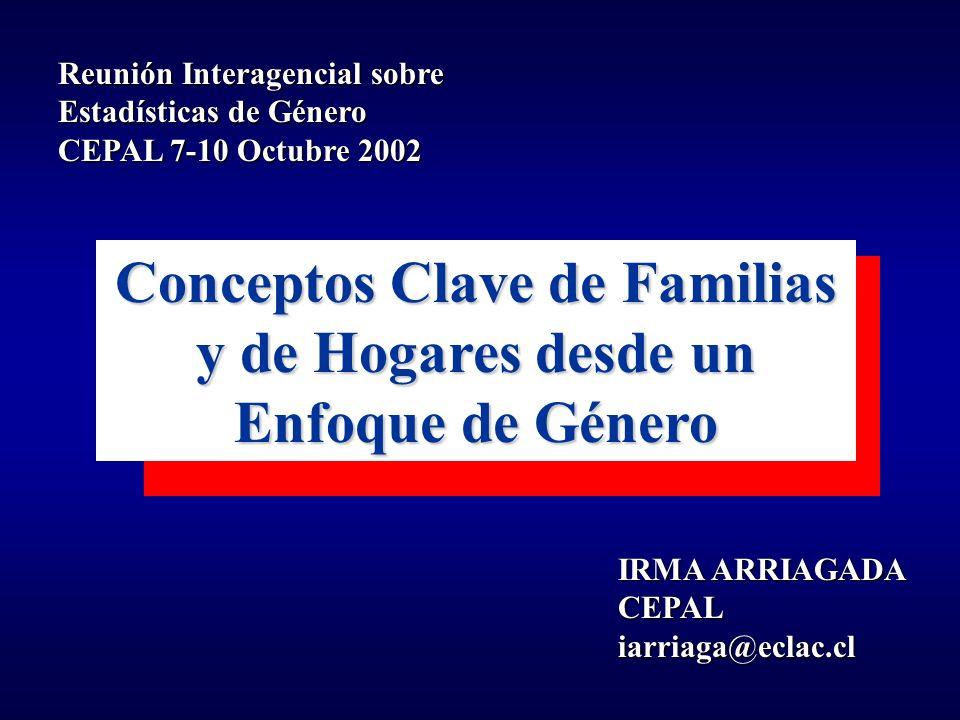 IRMA ARRIAGADA CEPALiarriaga@eclac.cl Conceptos Clave de Familias y de Hogares desde un Enfoque de Género Reunión Interagencial sobre Estadísticas de Género CEPAL 7-10 Octubre 2002