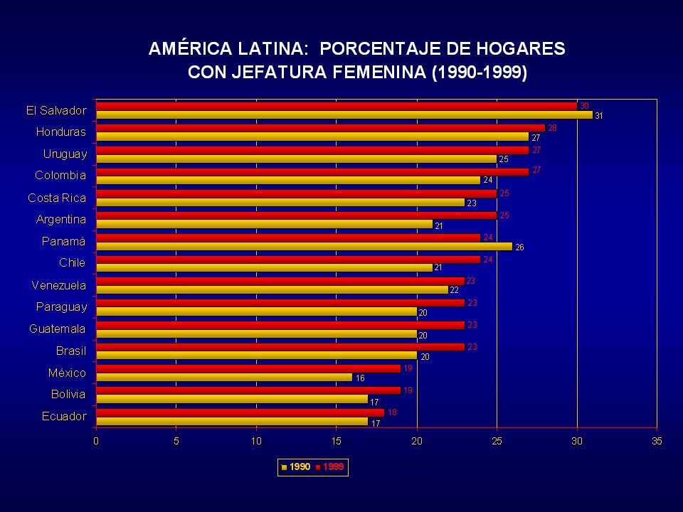 Dificultades de definición y medición. Aumento de los hogares de jefatura femenina. Relación relativa con la pobreza. Diversidad de causas: migracione