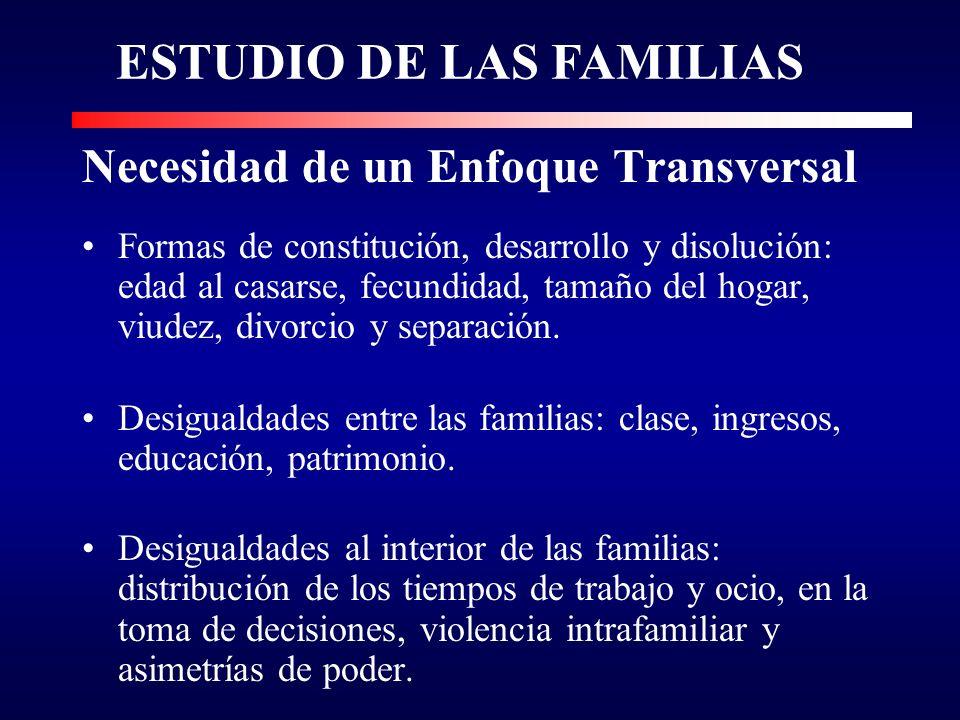 Necesidad de un Enfoque Transversal Formas de constitución, desarrollo y disolución: edad al casarse, fecundidad, tamaño del hogar, viudez, divorcio y separación.