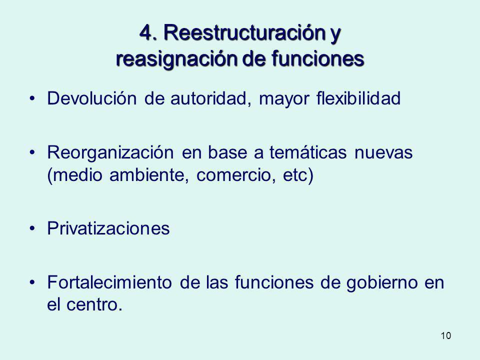 10 4. Reestructuración y reasignación de funciones Devolución de autoridad, mayor flexibilidad Reorganización en base a temáticas nuevas (medio ambien