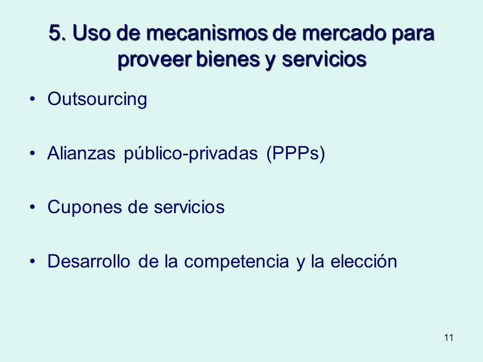 11 5. Uso de mecanismos de mercado para proveer bienes y servicios Outsourcing Alianzas público-privadas (PPPs) Cupones de servicios Desarrollo de la