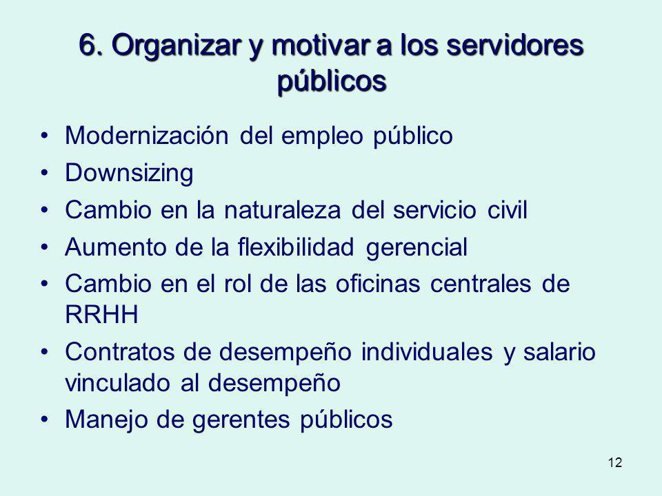 12 6. Organizar y motivar a los servidores públicos Modernización del empleo público Downsizing Cambio en la naturaleza del servicio civil Aumento de