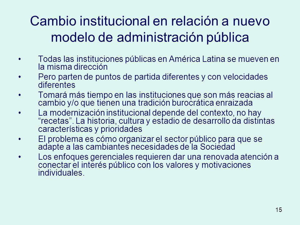 15 Cambio institucional en relación a nuevo modelo de administración pública Todas las instituciones públicas en América Latina se mueven en la misma
