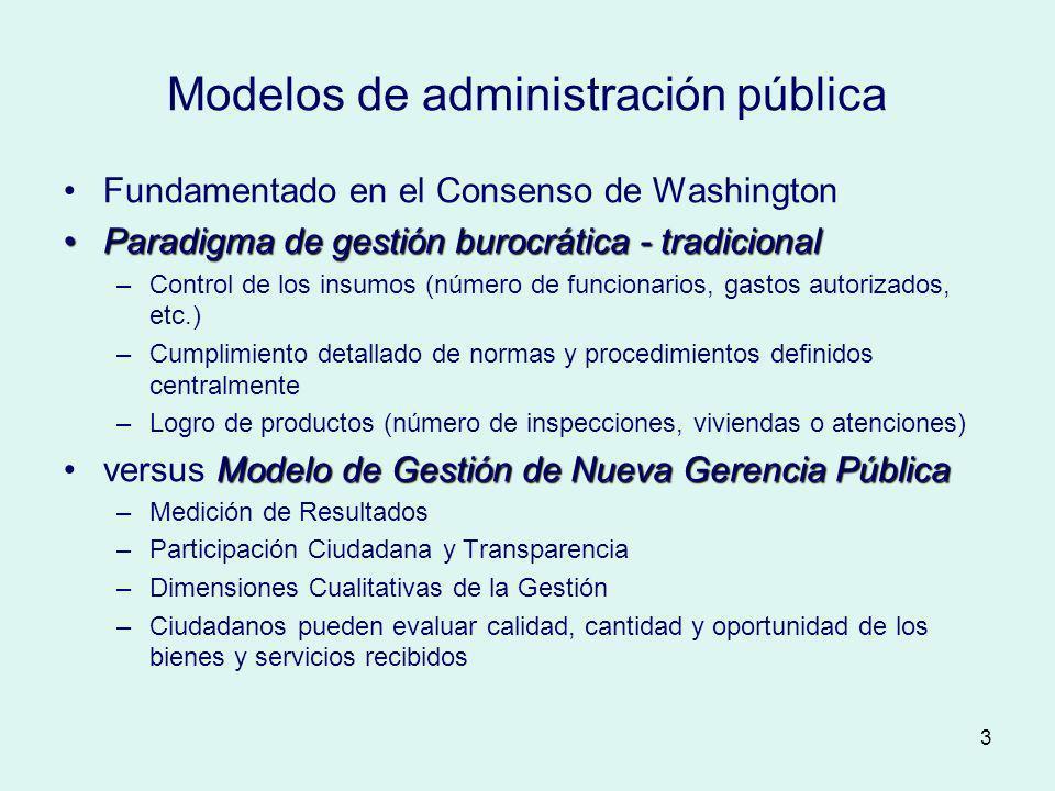 3 Modelos de administración pública Fundamentado en el Consenso de Washington Paradigma de gestión burocrática - tradicionalParadigma de gestión buroc