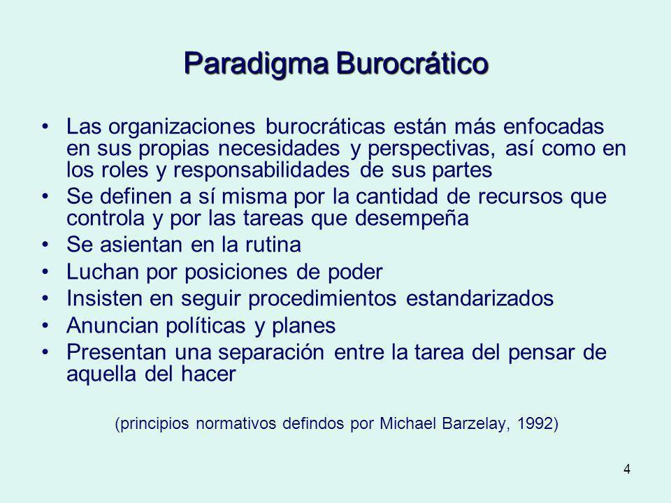 4 Paradigma Burocrático Las organizaciones burocráticas están más enfocadas en sus propias necesidades y perspectivas, así como en los roles y respons
