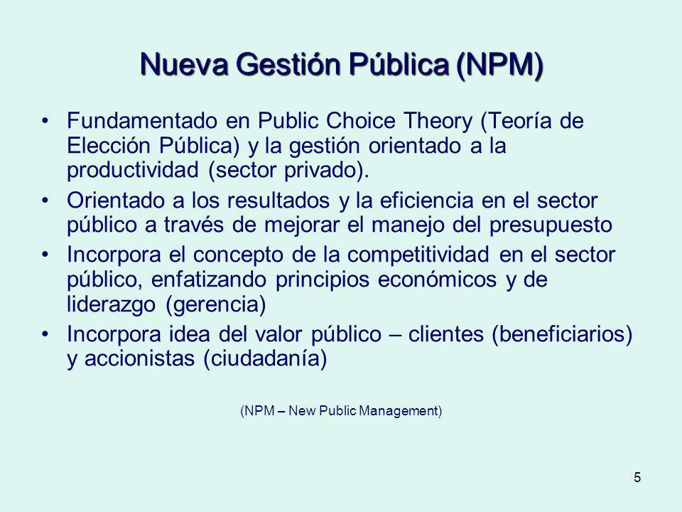 5 Nueva Gestión Pública (NPM) Fundamentado en Public Choice Theory (Teoría de Elección Pública) y la gestión orientado a la productividad (sector priv