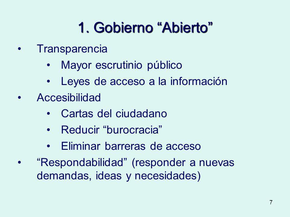 7 1. Gobierno Abierto Transparencia Mayor escrutinio público Leyes de acceso a la información Accesibilidad Cartas del ciudadano Reducir burocracia El