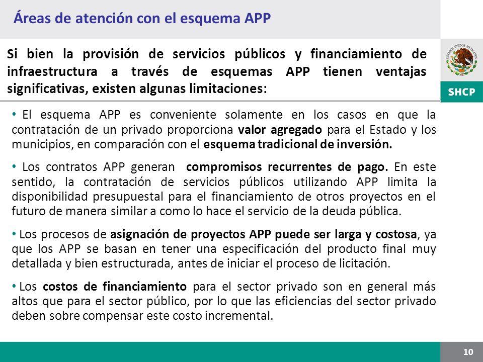 Áreas de atención con el esquema APP 10 Si bien la provisión de servicios públicos y financiamiento de infraestructura a través de esquemas APP tienen