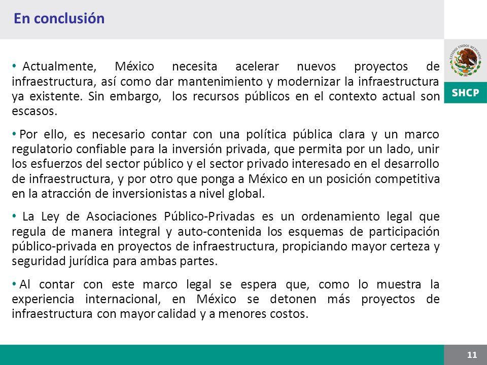 En conclusión 11 Actualmente, México necesita acelerar nuevos proyectos de infraestructura, así como dar mantenimiento y modernizar la infraestructura