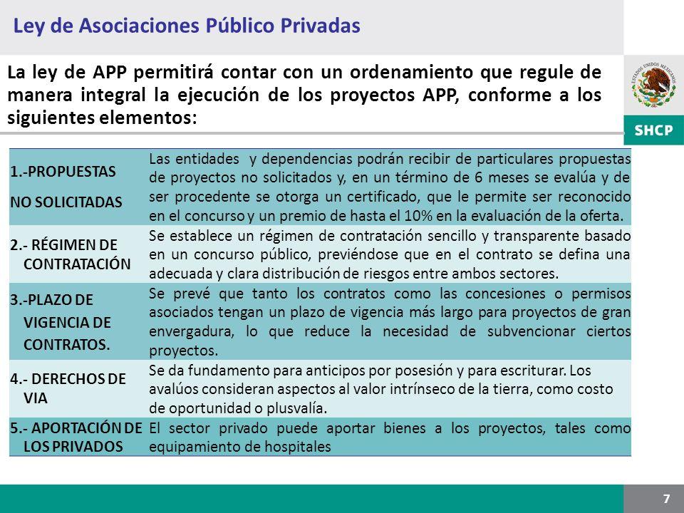 Ley de Asociaciones Público Privadas 7 La ley de APP permitirá contar con un ordenamiento que regule de manera integral la ejecución de los proyectos