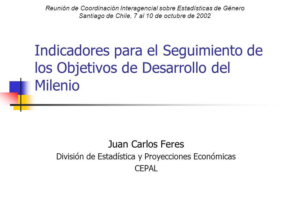 Indicadores para el Seguimiento de los Objetivos de Desarrollo del Milenio Juan Carlos Feres División de Estadística y Proyecciones Económicas CEPAL R