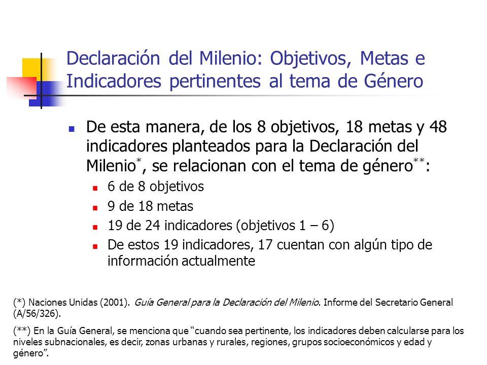 Declaración del Milenio: Objetivos, Metas e Indicadores pertinentes al tema de Género De esta manera, de los 8 objetivos, 18 metas y 48 indicadores pl